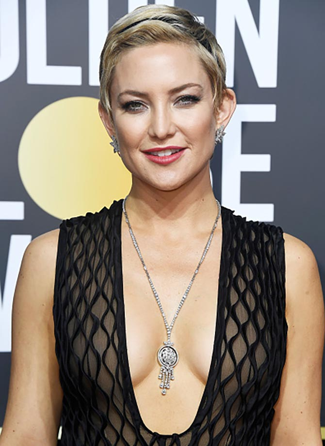 Actor Kate Hudson in Harry Winston at The 75th Annual Golden Globe Awards at The Beverly Hilton Hotel on January 7, 2018 in Beverly Hills, California. (Photo by Frazer Harrison/Getty Images)