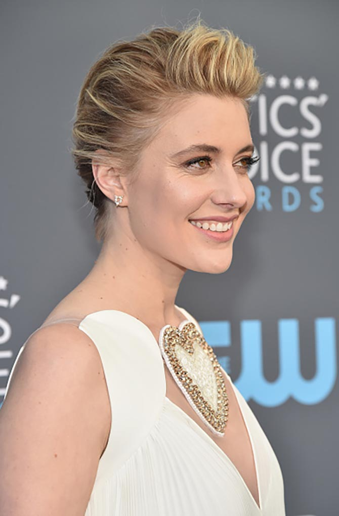 Greta Gerwig in Fernando Jorge earrings at the Critics' Choice Awards