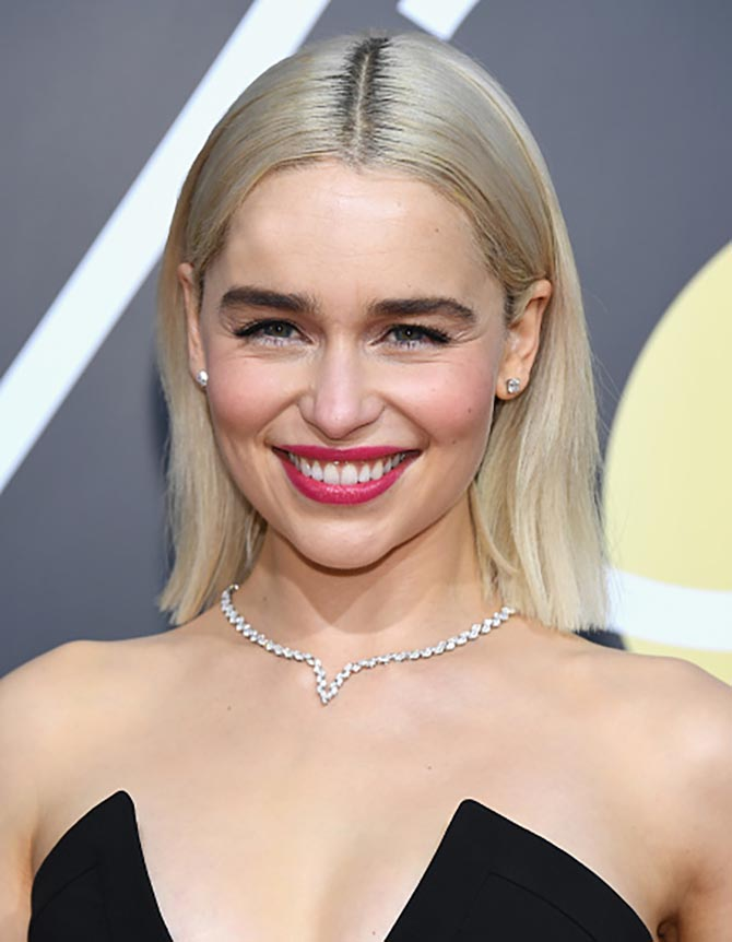 Actor Emilia Clarke in Harry Winston necklace and earrings at the 75th Annual Golden Globe Awards held at the Beverly Hilton Hotel on January 7, 2018. (Photo by Kevork Djansezian/NBC/NBCU Photo Bank via Getty Images)