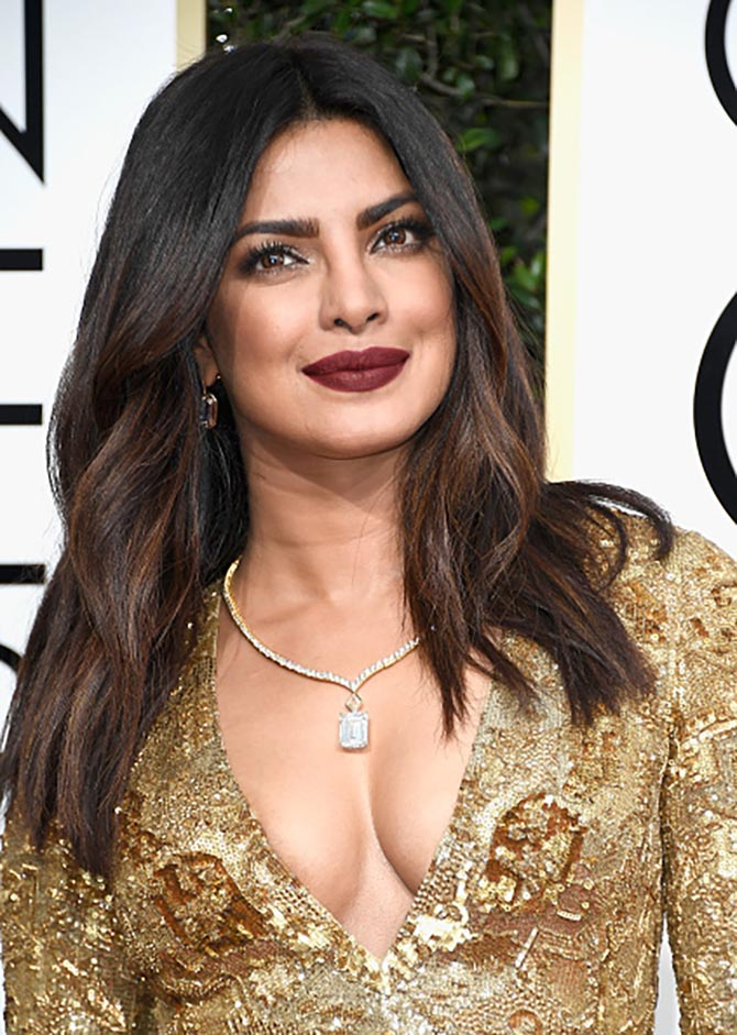 Priyanka Chopra in a Lorraine Schwartz necklace at the 2017 Golden Globe Awards. Photo Frazer Harrison/Getty Images