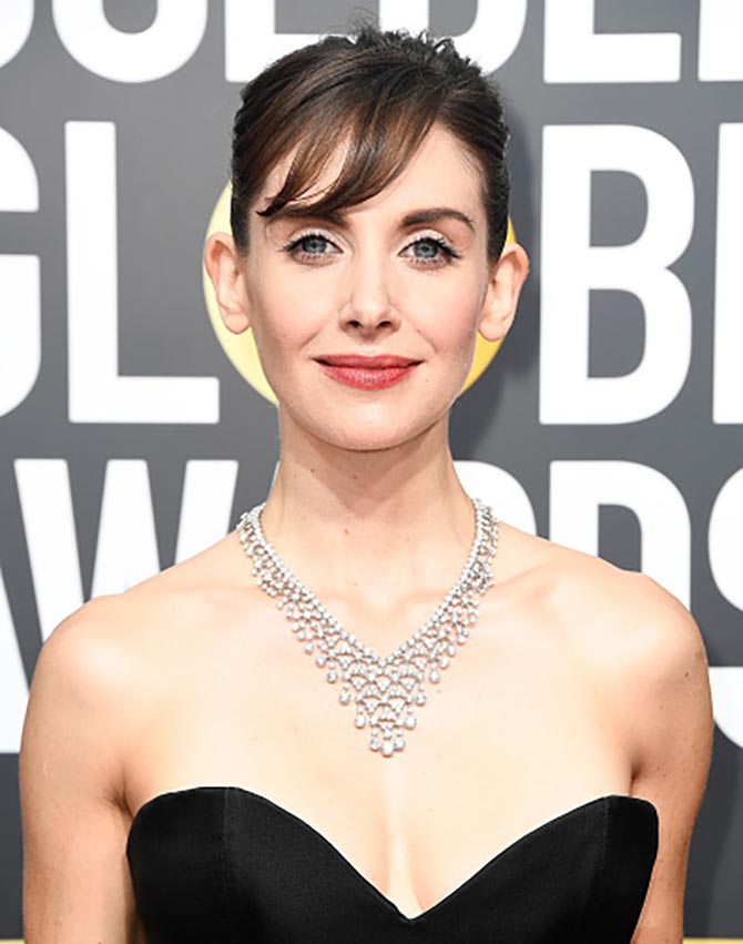 Alison Brie in Bulgari at The 75th Annual Golden Globe Awards at The Beverly Hilton Hotel on January 7, 2018 in Beverly Hills, California. (Photo by Frazer Harrison/Getty Images)