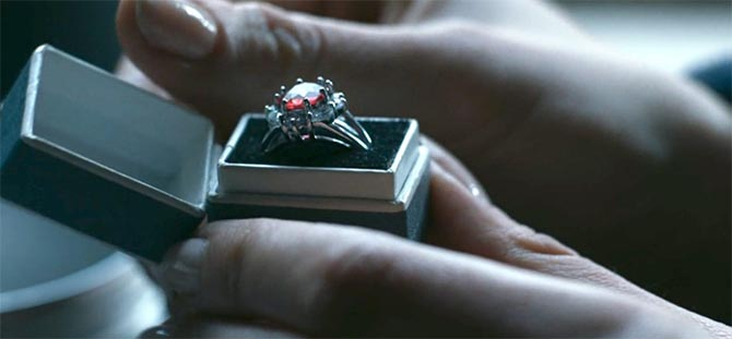 Close-up of Princess Margaret's engagement ring in 'The Crown.' Photo Netflix