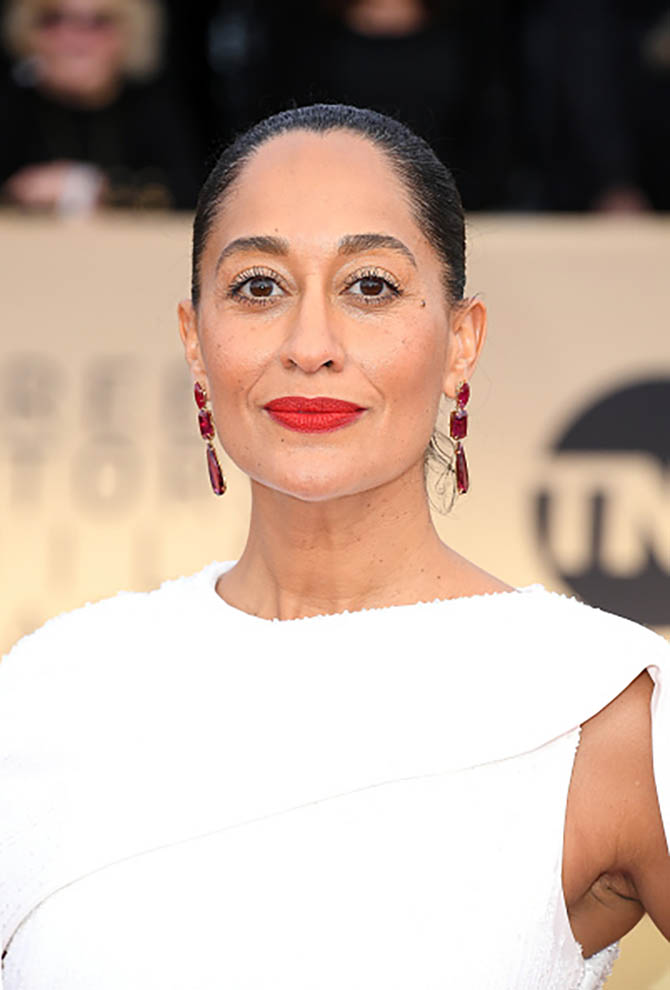 Tracee Ellis Ross in Lorraine Schwartz earrings and a Ralph & Russo gown at the 24th Annual Screen Actors†Guild Awards.