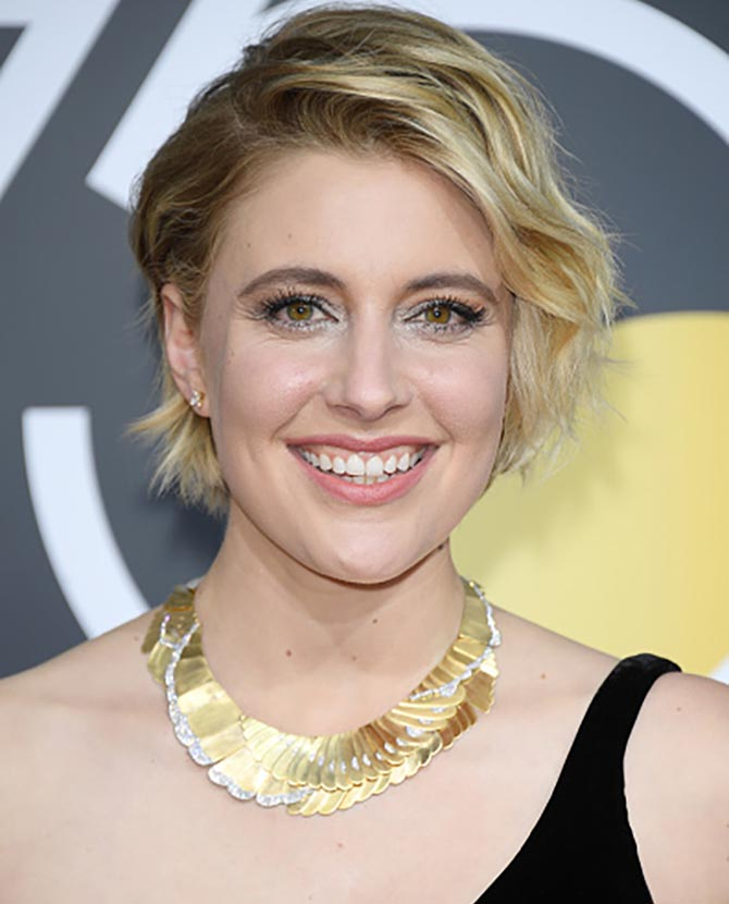 Director Greta Gerwig in vintage Tiffany at the The 75th Annual Golden Globe Awards at The Beverly Hilton Hotel on January 7, 2018 in Beverly Hills, California. Photo WireImage