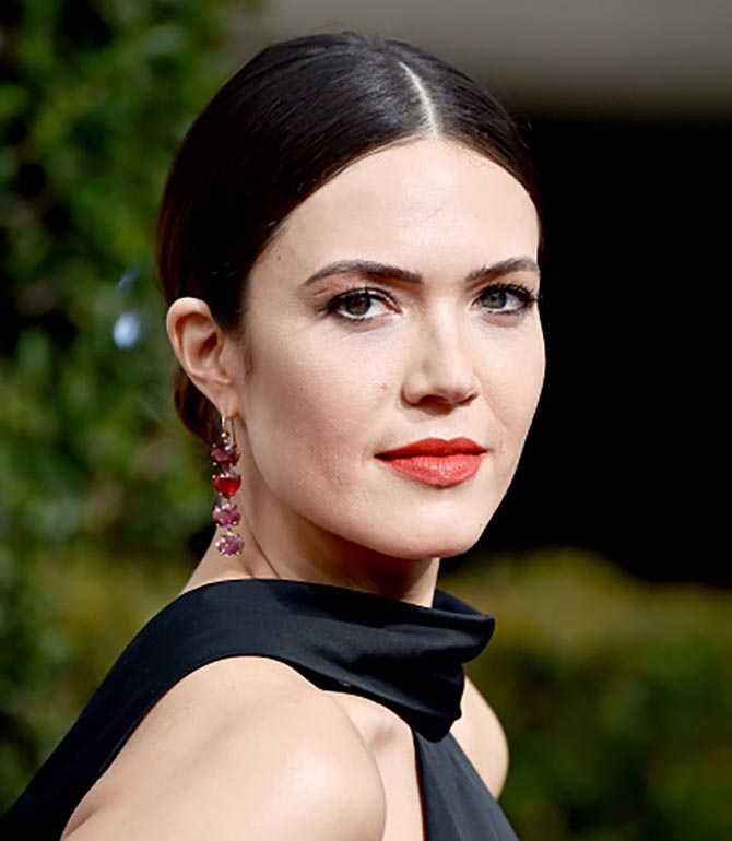 Actor Mandy Moore in Irene Neuwirth earrings at The 75th Annual Golden Globe Awards at The Beverly Hilton Hotel on January 7, 2018 in Beverly Hills, California. (Photo by Frazer Harrison/Getty Images)