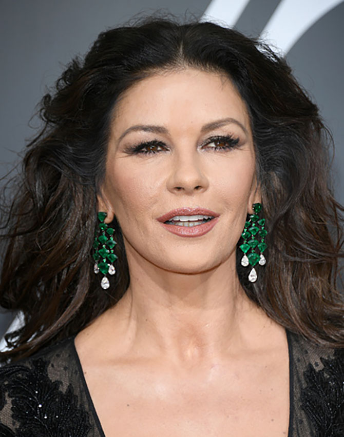 Catherine Zeta-Jones in Lorraine Schwartz earrings at The 75th Annual Golden Globe Awards