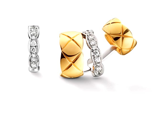 Coco Crush diamond and quilted yellow gold asymmetrical earrings by Chanel. Photo courtesy