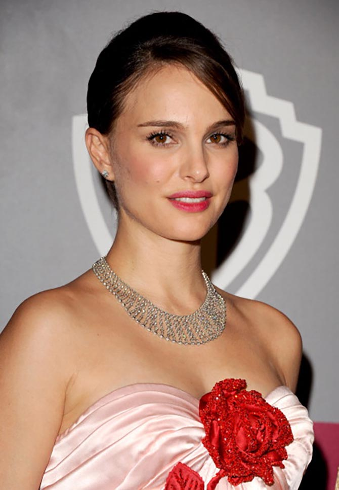 Natalie Portman wore a Tiffany necklace to the 2011 Golden Globes. Photo by Jon Kopaloff/FilmMagic
