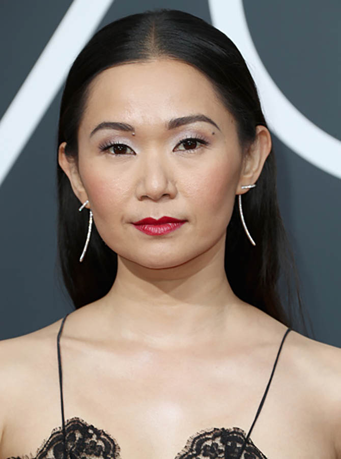 Hong Chau in Jennifer Fisher earrings at The 75th Annual Golden Globe Awards