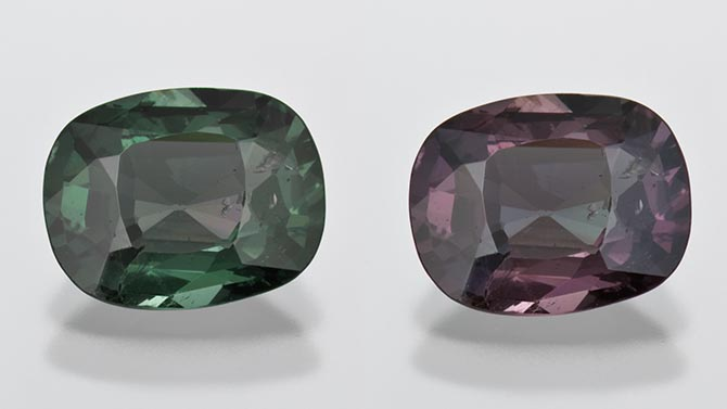 A 2.85-carat cushion cut alexandrite from the Dr. Eduard J. Gübelin Collection. Photo Robert Weldon ©GIA