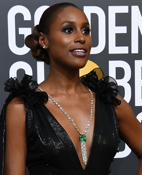 Issa Rae in Lorraine Schwartz arrives for the 75th Golden Globe Awards on January 7, 2018, in Beverly Hills, California. / AFP PHOTO / VALERIE MACON (Photo credit should read VALERIE MACON/AFP/Getty Images)