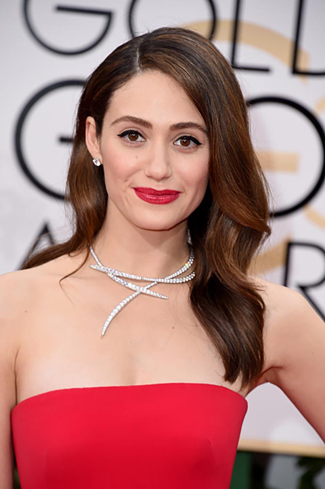 Emmy Rossum in a Van Cleef & Arpels necklace at the 2016 Golden Globe Awards. Photo by Steve Granitz/WireImage