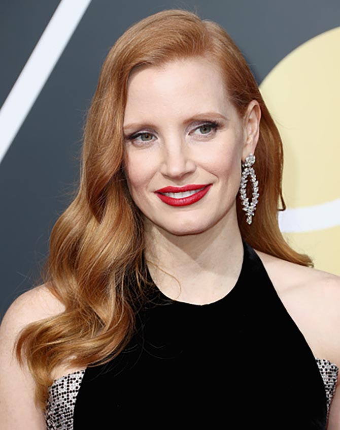 Jessica Chastain in Piaget earrings at a The 75th Annual Golden Globe Awards at The Beverly Hilton Hotel on January 7, 2018 in Beverly Hills, California. Photo etty Images