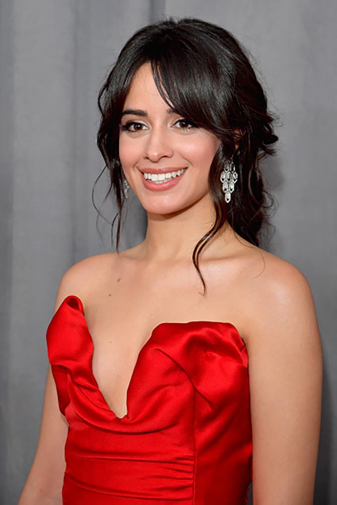 Camila Cabello in Bulgari Serpenti earrings at the Grammys