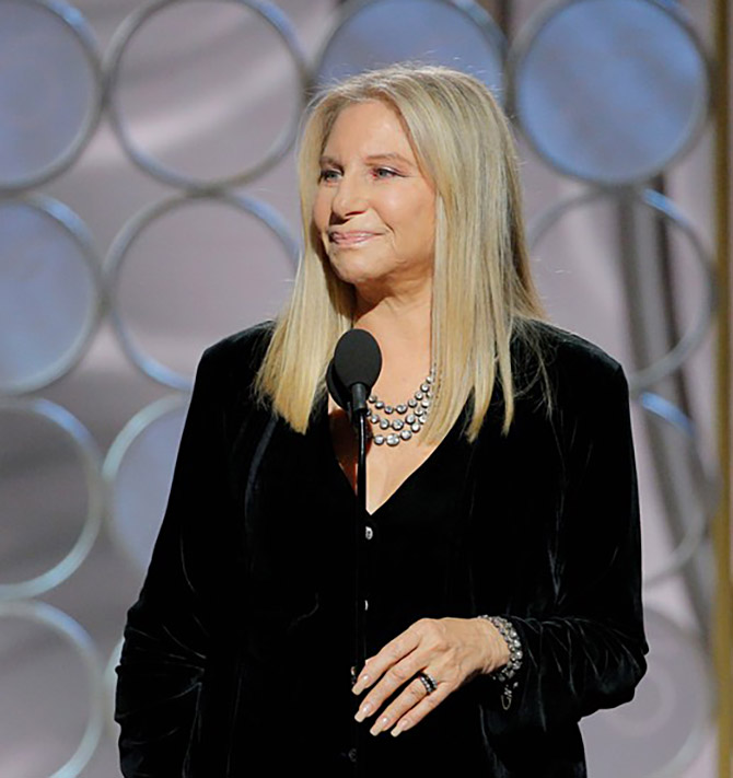 Barbra Streisand in a multi-strand vintage collet necklace and bracelet at the 2018 Golden Globes
