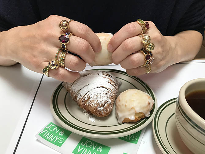 Sarah Hendler wearing her rings during breakfast at Jon & Vinny's. Photo Sally Davies