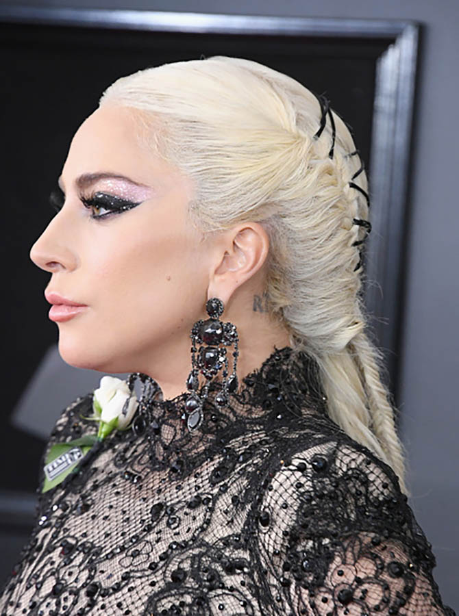 Lady Gaga in Lorraine Schwartz black diamond earrings at the Grammys