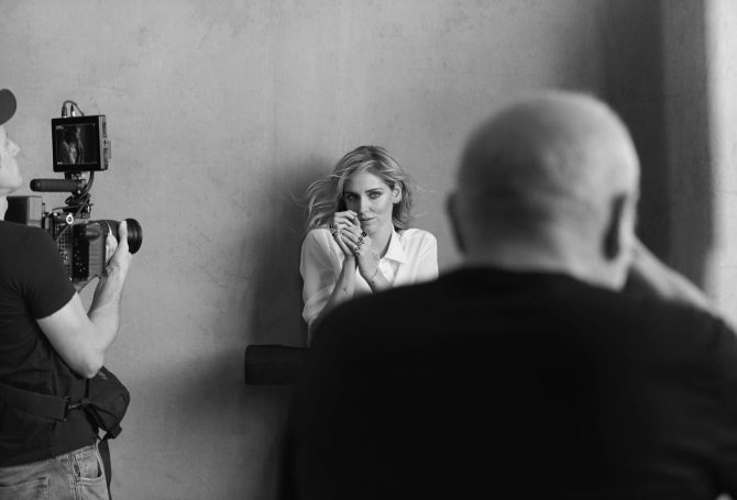 Behind the scenes shot of Chiara Ferragni posing for lensman Peter Lindbergh for the Pomellato for Women capaign. Photo courtesy