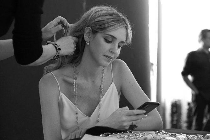 Behind the scenes shot of Chiara Ferragni on set of the Peter Lindbergh campaign for Pomellato. Photo courtesy