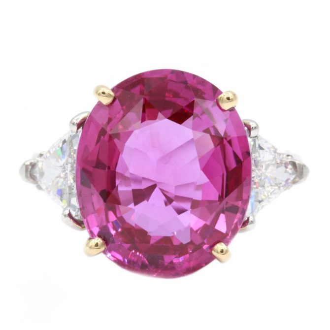 Oscar Heyman 11.30-carat pink sapphire, diamond, platinum and gold ring; $240,000