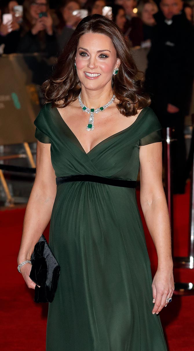 Kate Middleton wearing her emerald and diamond suite at the 2018 BAFTAs. Photo Getty