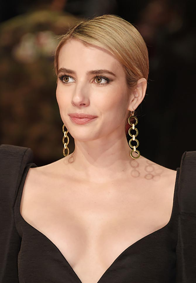 Emma Roberts in Jennifer Meyer Four Circle Drop Gold and Diamond Earrings.