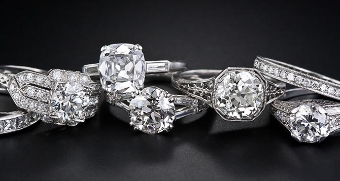 Art Deco and Edwardian diamond and platinum engagement rings from Lang Antiques. Photo courtesy