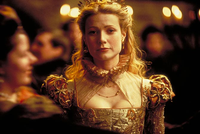 Gwyneth Paltrow wearing delicate jewelry and a tiara in 'Shakespeare in Love.' Photo Miramax