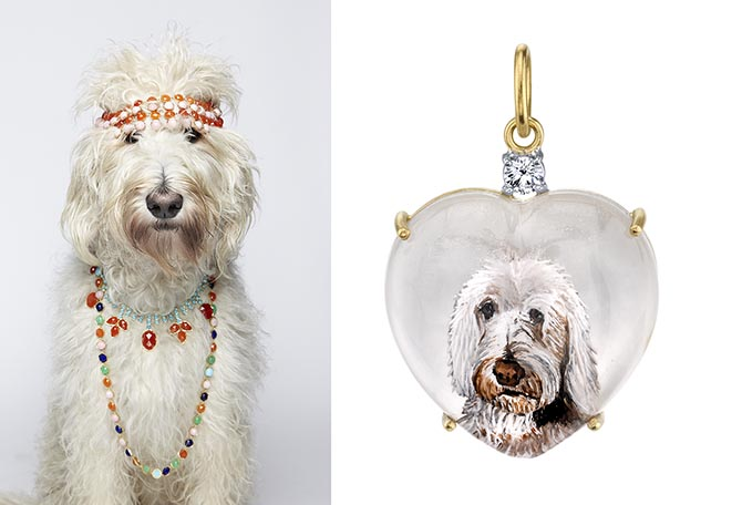 Irene Neuwirth's Labradoodle Teddy and his one-of-a-kind 18K gold pendant with carved crystal heart, mother-of-pearl and a diamond. Photo courtesy