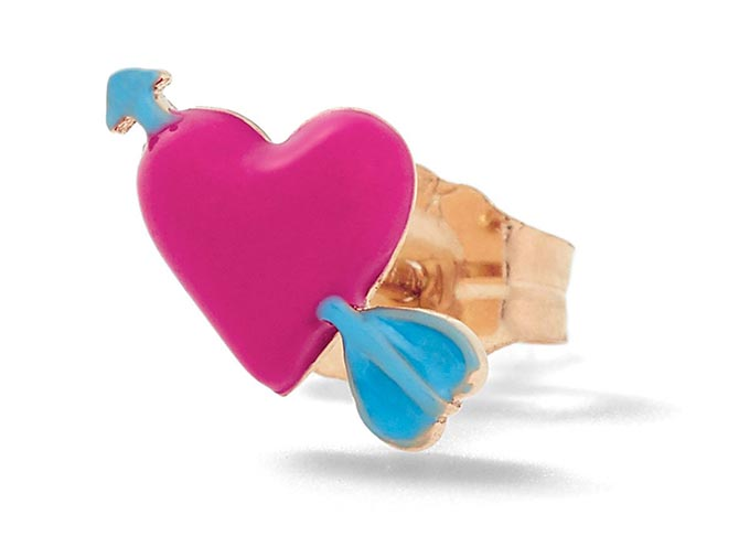 Alison Lou 14K Gold and Enamel Heart with Arrow Stud, $255