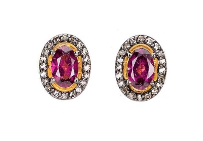Modern Moghul Rhodolite, Diamond, Gold Vermeil, Rhodium Plated Silver Earrings, $225