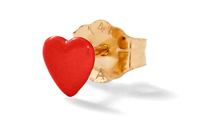 Alison Lou 14K Gold and Enamel Tiny Heart Stud, $125
