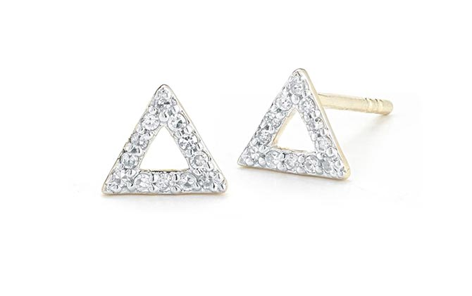 Mateo 14K Gold Mini Diamond Triangle Studs, $150