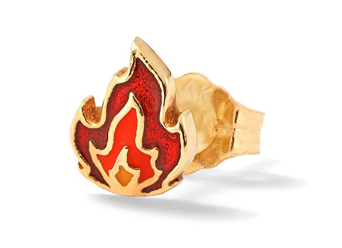 Alison Lou 14K Gold and Enamel Flame Stud, $305