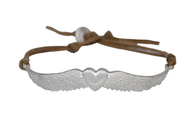 Me & Ro Sterling Silver Heart and Wing Bracelet on Cord, $215