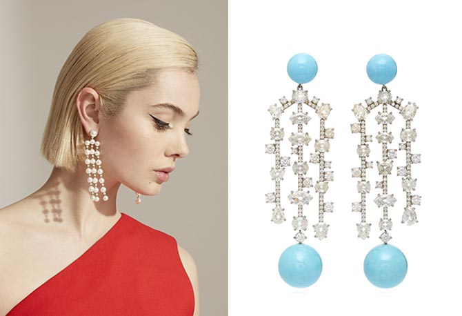 Irene Neuwirth 18K white gold post earrings set with Akoya pearls and diamonds and one-of-a-kind white gold earrings set with Kingman Turquoise spheres and diamonds.
