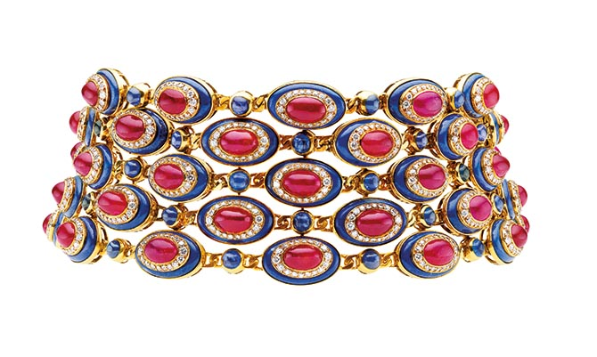 Bulgari choker in gold with rubies, sapphires, lapis lazuli and diamonds made by Bulgari around 1979. Photo courtesy