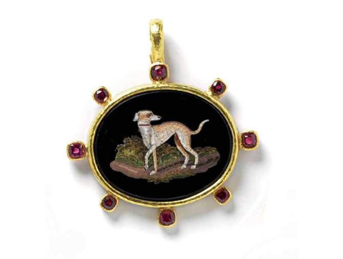 "Elizabeth Locke gold pendant with an oval 19th century micromosaic of a ""Whippet"" set in a gold pendant accented with red spinels. Photo courtesy"