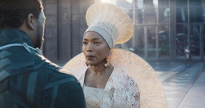 Queen Ramonda (Angela Bassett) wearing earrings by Douriean in 'Black Panther.' Photo Getty