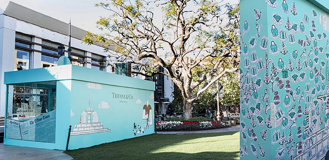 Back of the Tiffany pop up at the Grove and a detail shot of the stickers that have been added by shoppers to the exterior since the boutique opened. Photo Tiffany and Marion Fasel