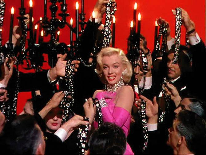 """Marilyn Monroe in the scene when she sings """"Diamonds Are A Girl's Best Friend"""" in 'Gentlemen Prefer Blondes.' Photo 20th Century Fox"""