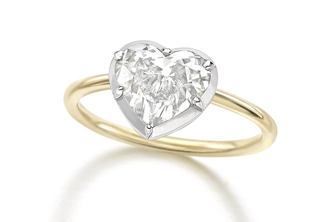 Diamond heart rings with Georgian Cut Down Settings by Jessica McCormack Photo courtesy