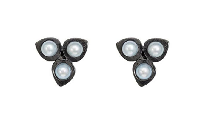 Karen Karch Pearl Dotted Trinty Blackened Silver Studs, $350