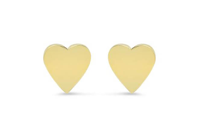 Jennifer Meyer 18K Gold Heart Studs, $350