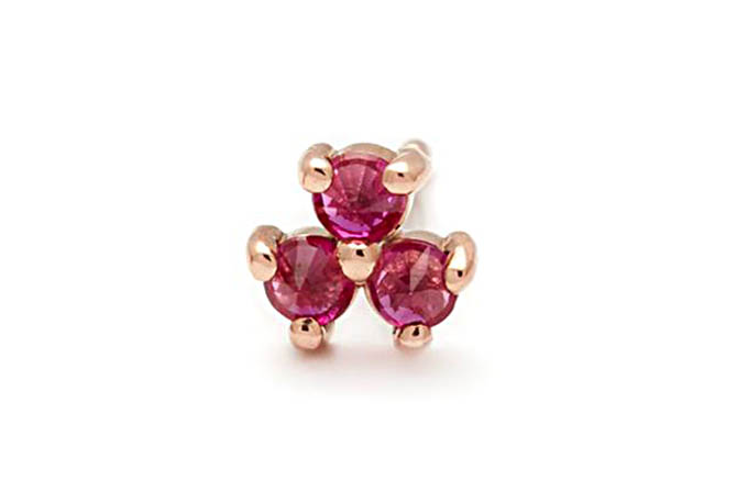 Anna Sheffield Rose Gold and Ruby Emma Bloom Stud, $425