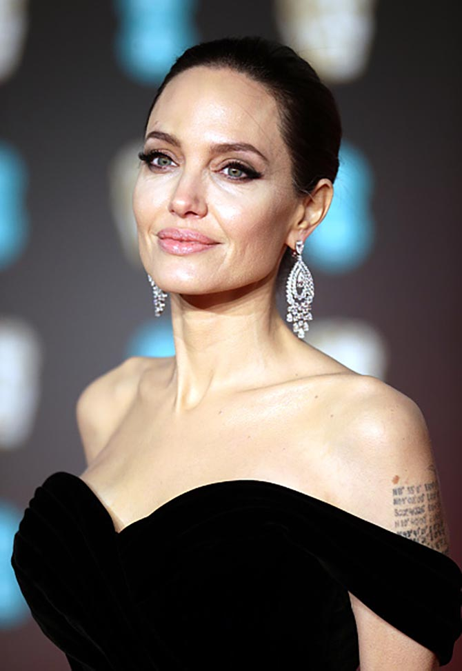 Angelina Jolie wearing 32.98-carat diamond earrings by Graff at the 2018 BAFTAs.