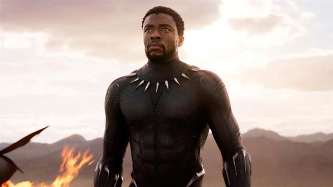The Black Panther (Chadwick Boseman) in his super hero suit with the claw necklace. Photo Marvel Studios