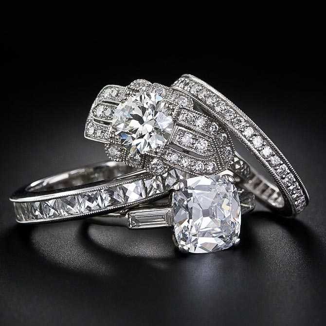 Engagement rings and wedding bands from Lang Antiques. Photo courtesy