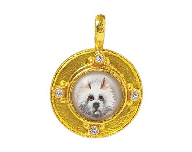 Elizabeth Locke antique Essex crystal 'White Dog' gold pendant with diamonds. Photo courtesy