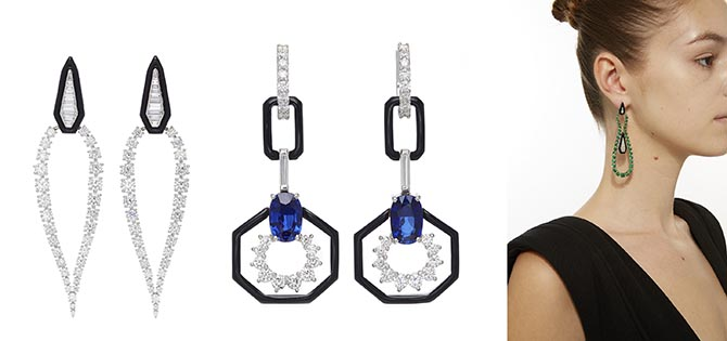 Nikos Koulis Oui earrings with tapered baguette, white diamond, round emerald and enamel earring, Oui earrings with round and baguette diamonds and black enamel and Oui earrings with blue sapphire, baguette diamonds and enamel